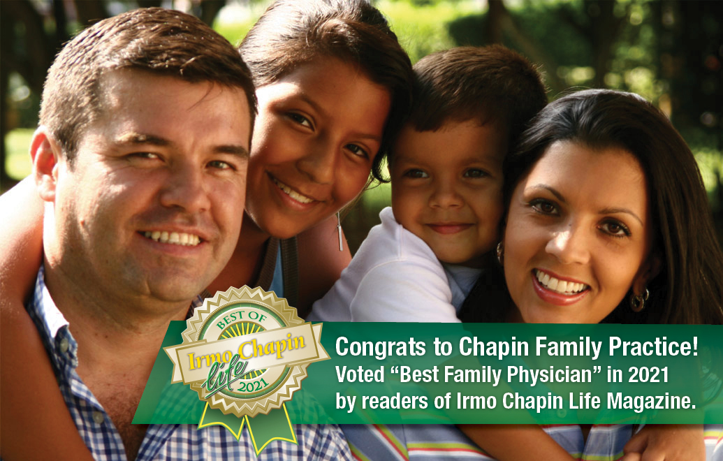 "Congrats to Chapin Family Practice! Voted ""Best Family Physician"" in 2021 by readers of Irmo Chapin Life Magazine."